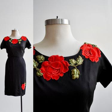 1950s Black Cocktail Dress with Roses by milkandice