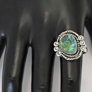 70's sterling Royston turquoise Navajo biker hippie ring, artisan made asymmetrical 925 silver blue green stone size 9.75 rocker solitaire by BetseysBeauties