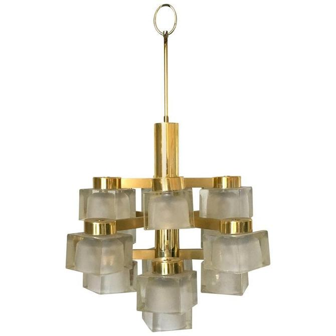 Large Gaetano Sciolari 13 Frosted Cube Brass Chandelier by HermansSteelGarage