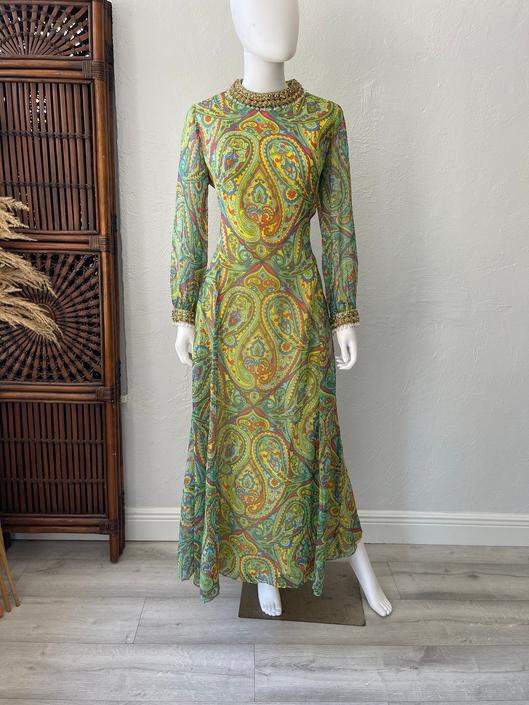 Vtg 60s op art paisley jeweled maxi dress gown SM by AnimalVintageMiami