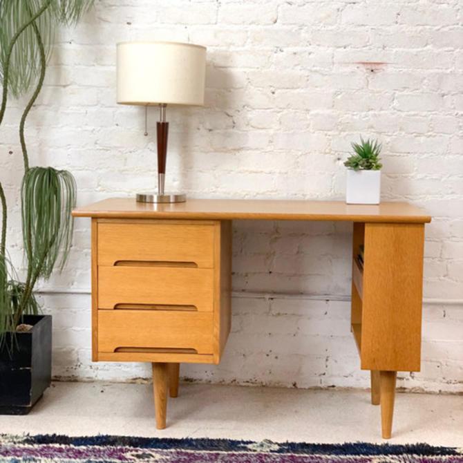 Vintage blonde wood executive desk
