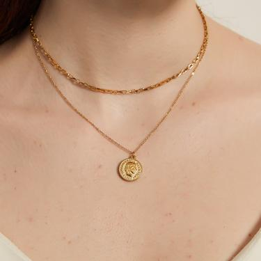 hope gold duo strand coin pendant necklace, Dainty coin chain necklace, gold necklace, coin necklace, medallion necklace, layering choker by MelangeBlancDesigns