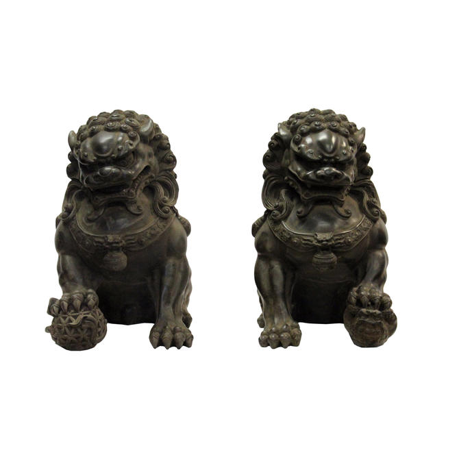 Pair Chinese Distressed Brown Black Marble Like Fengshui Foo Dogs ws287E by GoldenLotusAntiques