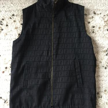 Vintage FENDI FF Zucca Print REVERSIBLE Monogram Leopard Unisex Brown Black Vest Jacket Dress Coat Trench  S M L by MoonStoneVintageLA