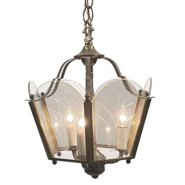 1950s Traditional Etched Glass Foyer Hallway Hanging Lantern