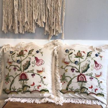 Cream Canvas Crewel Pillow Vintage Pillows, throw pillow covers 1970s folk art pillows flowers birds handmade movement by VintageCoreReStore