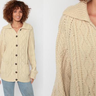 Wool Fisherman Cardigan Cable Knit Sweater Irish 70s Boho Cream Bohemian Chunky Grandpa Vintage 80s Button Up Cableknit Small Medium by ShopExile