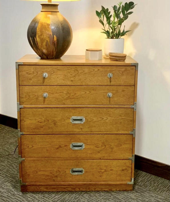 Free and Insured Shipping Within US - Vintage Campaign Dresser by BigWhaleConsignment