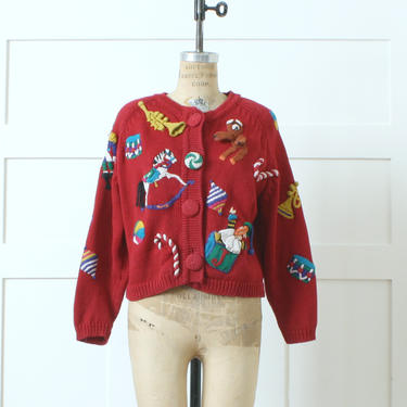 vintage 1990s novelty Christmas sweater • red cotton hand knit slouchy cardigan • Michael Simon holiday sweater by LivingThreadsVintage