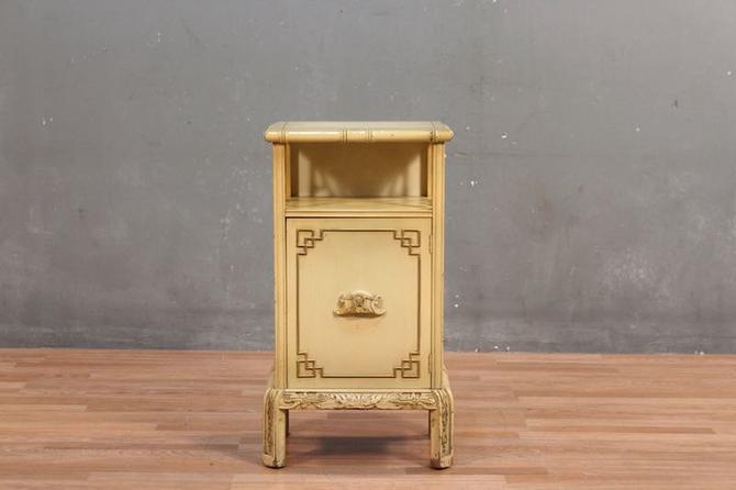 Pale Yellow Faux-Bamboo 1-Door Side Table