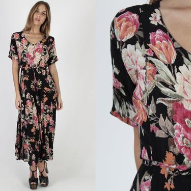 Vintage 90s Black Floral Dress / Romantic Roses Dress / Gypsy Grunge Festival Dress / Party Crinkled Gauze Waist Tie Full Skirt Maxi Dress by americanarchive