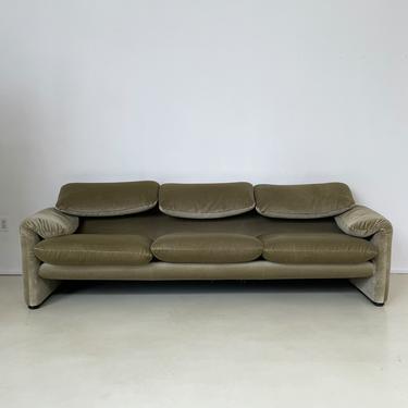 "Sage ""Maralunga"" 3-seater Sofa by Vico Magistretti for Cassina."