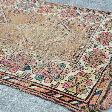 """Antique Hand Knotted 5 Medallion Persian Kazak style Runner, Heavily Distressed  -  3' 6"""" x  9' 4"""" by SourcedModern"""