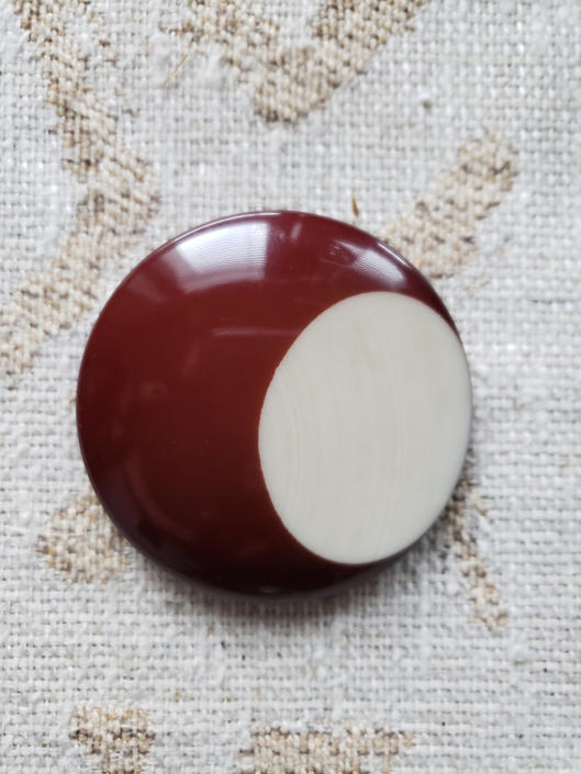 Vintage 1970s 70s Brown and Cream Circle Enamel Pin Brooch by LoveOnceAgain