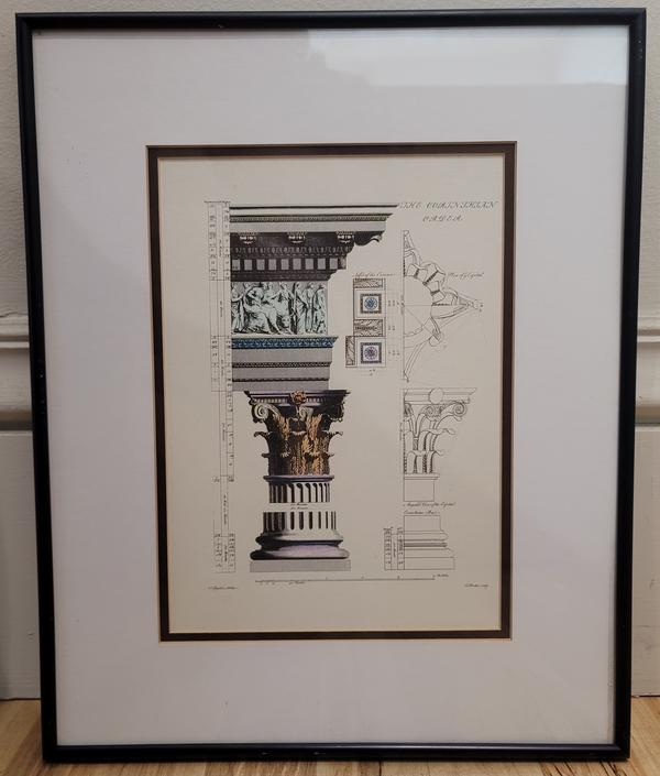 Vintage Neoclassical Architectural Framed Reproduction Art Print Hand-Colored by Patrisha Thomson & Workshop