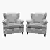 Pair Of Elegant Sculptural French Wing Chairs 1950s