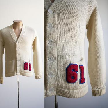 Vintage 1960s Letterman Sweater / Cream Letterman Cardigan Sweater / Vintage Varsity Sweater / Athletic Preppy Sweater / 60s Varsity Sweater by milkandice