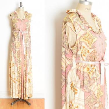 vintage 70s caftan dress pink psychedelic floral print hippie boho trapeze L clothing by huncamuncavintage