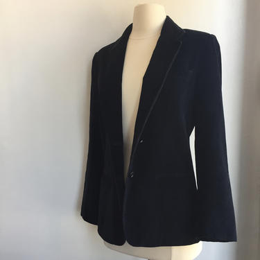Vintage 70's Tuxedo Style VELVET BLAZER Jacket  / Jetted Pockets + Fitted / The Bentley - Made in Japan by CharmVintageBoutique