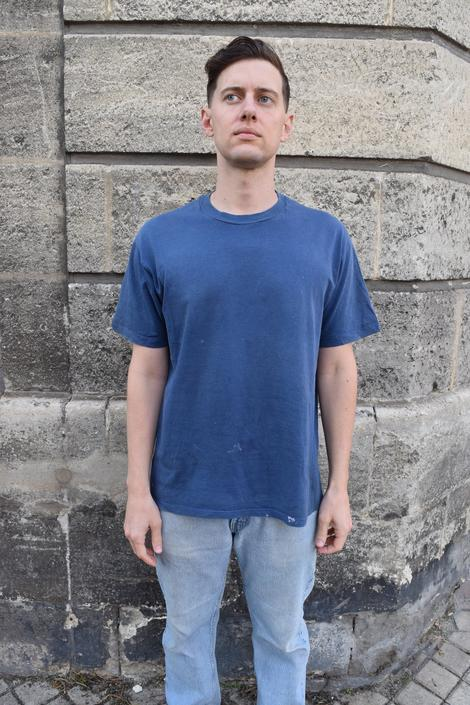 80s Hanes Distressed Workwear Cotton Indigo Blue Tee Shirt // L by banjocatvintage