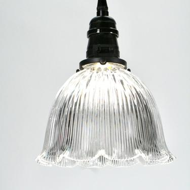 Medium Holophane Pendant with Etched Interior #2089 by vintagefilament