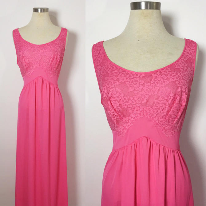 Vintage Lingerie   Vintage Nightgown   Hot Pink Nightgown   Maxi ... ca01a6be8