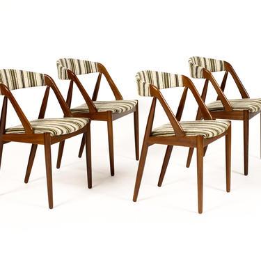 Danish Modern / Mid Century Teak Dining Chairs — Kai Kristiansen – Striped Wool Textile— Set of Four by atomicthreshold