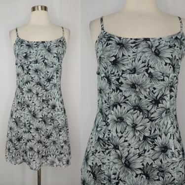 Vintage Betsey Johnson Size 8 2000s Y2K Blue Black Daisy Print Spaghetti Strap Mini Dress by JanetandJaneVintage