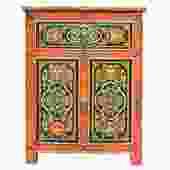 Tibetan Oriental Black Orange Floral End Table Nightstand cs4909S