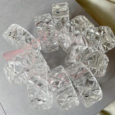 Vintage Clear Acrylic Napkin Rings  | Set of 10 | Vintage Plastic Crystal/Diamond Cut Napkin Ring | Vintage Table Decor by BrassBluebonnets