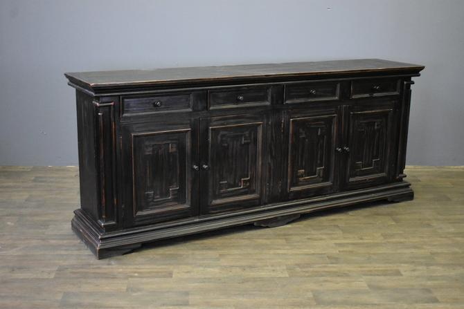 "Rustic Black Solid Wood 4 Drawer, 4 Door 91"" Sideboard / Media Console by RusticShop1"