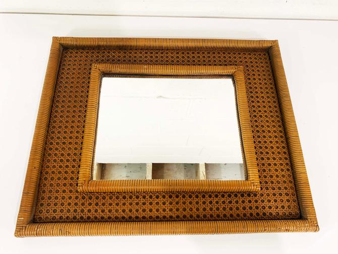 Vintage Caned Rattan Mirror Horizontal Vertical Frame Mid-Century Mantique Rustic Cottagecore Wall Hanging 1970s 70s WoodGlassics Boho by CheckEngineVintage