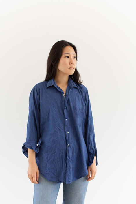 Vintage Rinsed Blue Long Sleeve Shirt | Overdye Simple Blouse | Crinkled Cotton Work Shirt | S M L | by RAWSONSTUDIO