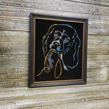 Vintage Black Velvet Painting, Cocker Spaniel Retro Dog w/ Leash Framed Art, Mans Best Friend Painting, Animal Lover, Vintage Home Decor by AGoGoVintage