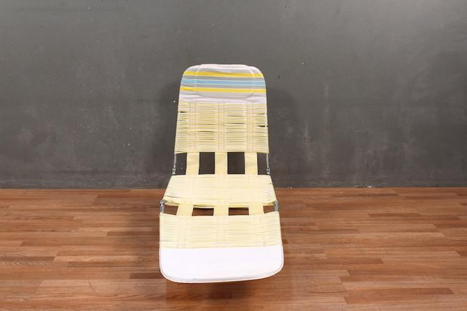 Sensational Retro Banana Cream Straps Folding Lounge Chair From Furnish Beatyapartments Chair Design Images Beatyapartmentscom