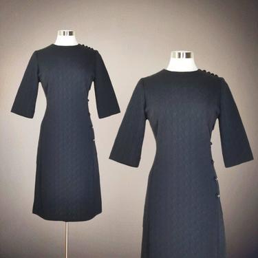 Vintage 60s Black Cocktail Dress, Large / Mod Black A Line Dress / Textured Wide Half Sleeve Dress / 1960s Christmas Party Dress by SoughtClothier