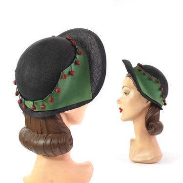 1940s Straw Halo Bonnet - 1940s Navy Blue Hat - 1940s Holly Berry Hat - 1940s Holiday Hat - 1940s Halo Hat - 1940s Bonnet Hat - 40s Hat by VeraciousVintageCo