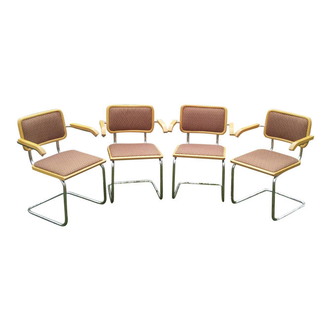 VINTAGE Mid Century Modern Breuer Cantilever CESCA Arm Chairs ITALY (Set of 4) by 3GirlsAntiques