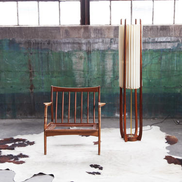 PENDING** STUNNING, RARE Mid Century Modern Walnut Adrian Pearsall Floor Lamp McM Danish Modern Designer 60s 70s Brass accents by CatchMyDriftVintage
