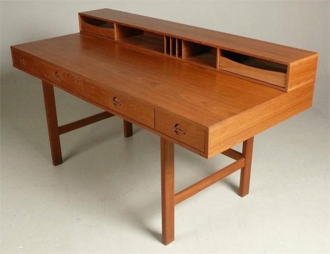 Quistgaard Teak Flip-Top Partner's Desk by Peter Lovig Nielsen, Denmark