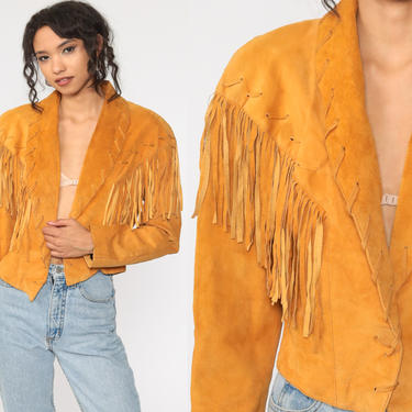 Fringe Leather Jacket 80s Suede Jacket SOUTHWESTERN Cropped Jacket Boho 1980s Vintage Biker Western Coat Bohemian Hippie Women Medium by ShopExile