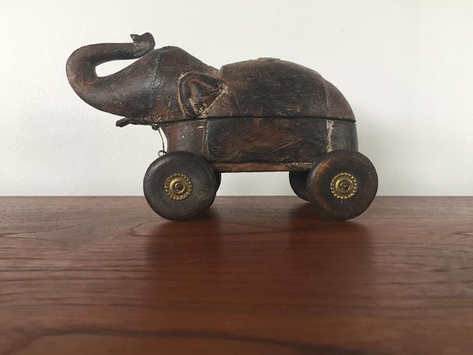 Vintage Hand Carved Wood Elephant Toy Box by ModandOzzie