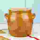Vintage French Stoneware Barrel Utensil Crock