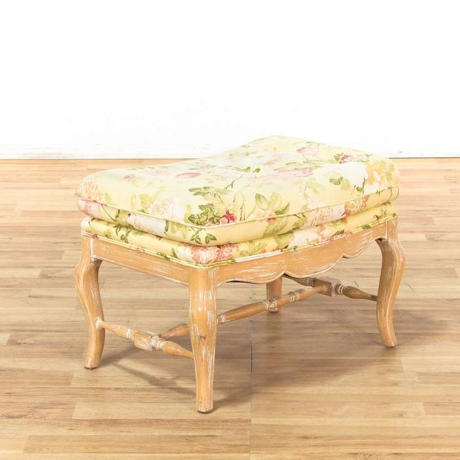Floral Upholstered Light Wood Frame Ottoman