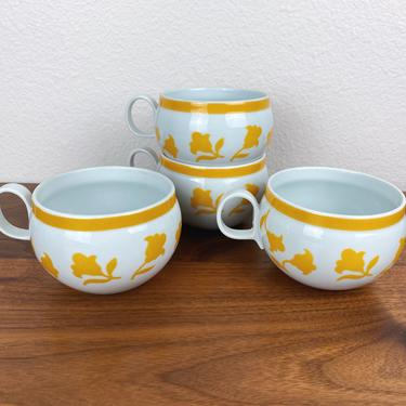 Set of 4 Hearthstone Block Portugal Cups - Yellow Ginger Floral by SonjloStudio