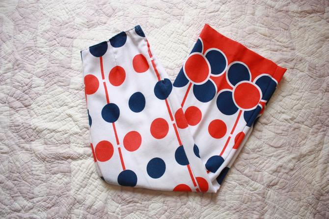 60s Mod Bell Bottoms Red White and Blue Polka Dot Side Zip Size L by NoSurrenderVintage