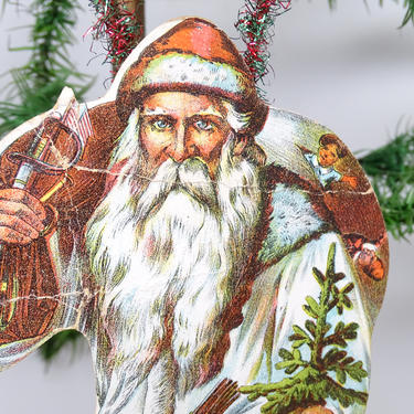 Antique Die Cut and Tinsel Ornament, Belsnickel Santa in White Robe Suit, Vintage Scrap Decor by exploremag