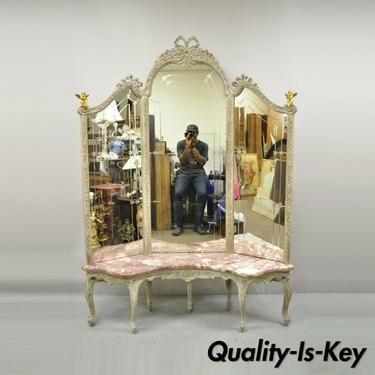 Antique French Louis XV Triple Tall Dressing Mirror Pink Marble Bronze Cherubs