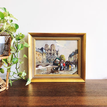 Vintage Parisian Impressionist Oil Painting of Notre Dame by TheDistilleryVintage