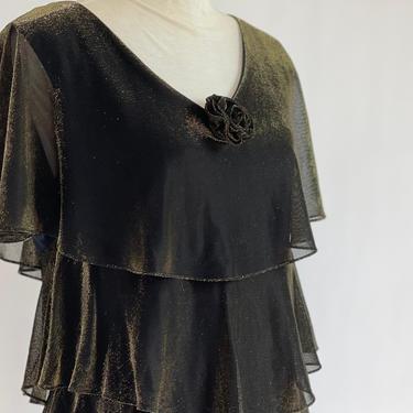 1980's Does Twenties Liquid Gold Tier Dress fits M - L by BeggarsBanquet
